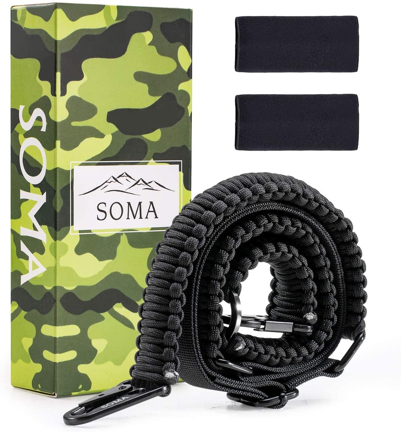 SOMA Rifle Sling 550 Paracord Gun Sling 2 Point Shotgun Strap Adjustable Belt with Eagle Hook for Outdoor Sports Hunting