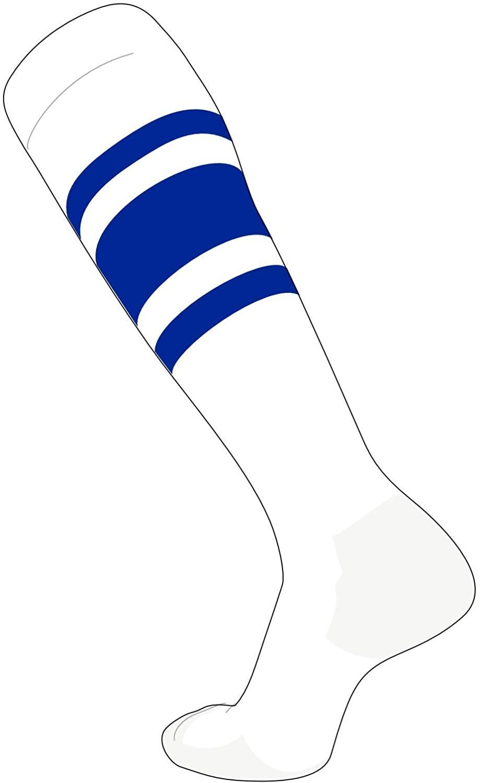 TCK Elite Baseball Football Knee High Striped Socks (C) White, Royal Blue