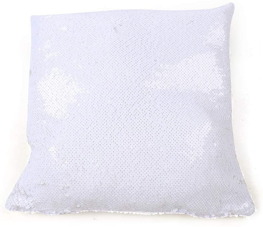 10PCS Sublimation Blank Reversible Sequin Magic Swipe Pillow Cushion Case 40x40 cm Sequin Magic Swipe Pillow Cases Cushion Cover Decorative Square Reversible Pillowcase Cover Printing (White)