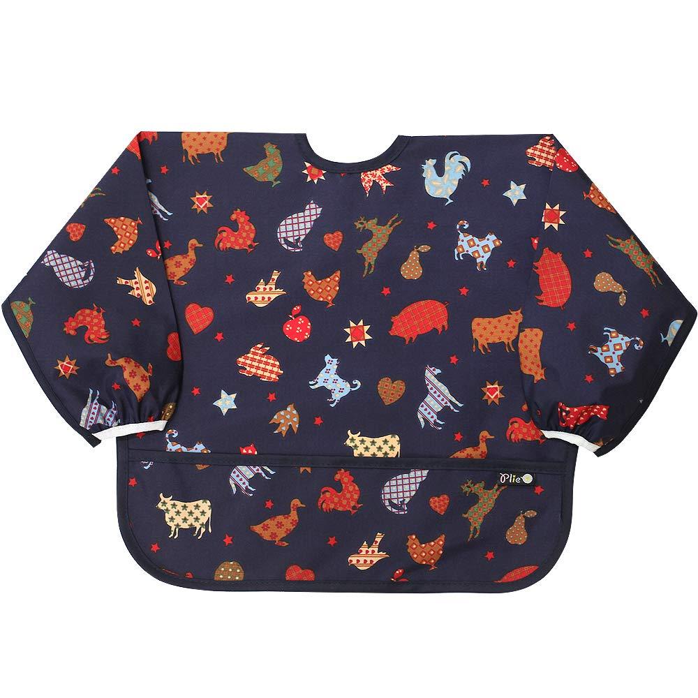 Plie Sleeved Bib/Baby Bib/Toddler Bib/Smock, Waterproof, Washable, Stain and Odor Resistant, 6-24 Months - Navy Zoo
