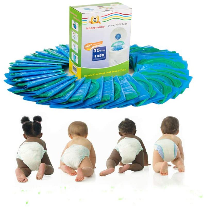 Baby Bathing Diaper Refill Bags with Toss and Hassle Free Blue Bags Green Ring,1050 Count Pail Snap Seal Disposal Diaper Bags (35)