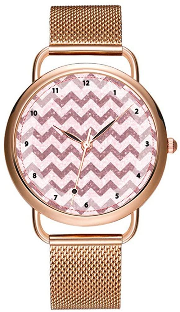 Christmas Women Quartz Watch Fashion Casual Ladies Watch Decorous Elegant Design Female Quartz Rose Gold Watch Cool Pink Chevron with Glitter Effect Wrist Watch