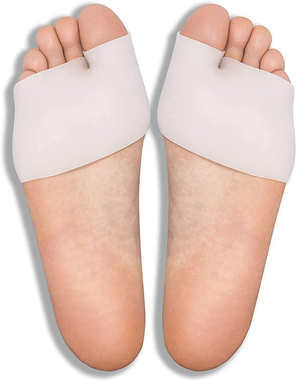 Metatarsal Sleeves Plus - Soft Gel Ball of Foot Pads - Mortons Neuroma Callus Metatarsal Foot Pain Relief Bunion Forefoot Cushioning (2 Pairs)