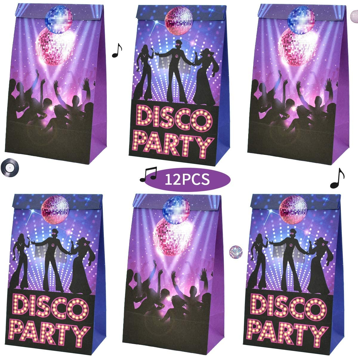 TONIFUL Disco Candy Favor Disco Party Bags Goodie Gift Treat Bags for Dance Themed Party Ideas Boys Kids Birthday Decoration Supplies