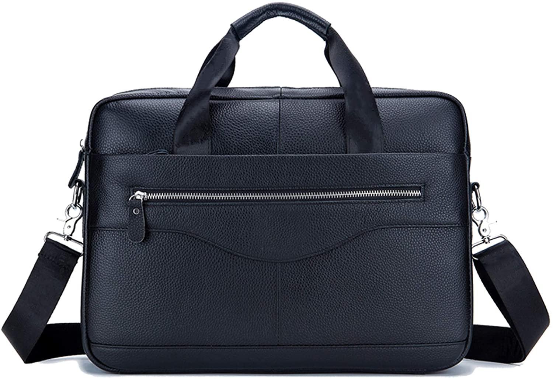 HOSTIC Genuine Leather Messenger Bag for Men Business 14 Inch Laptop Briefcase