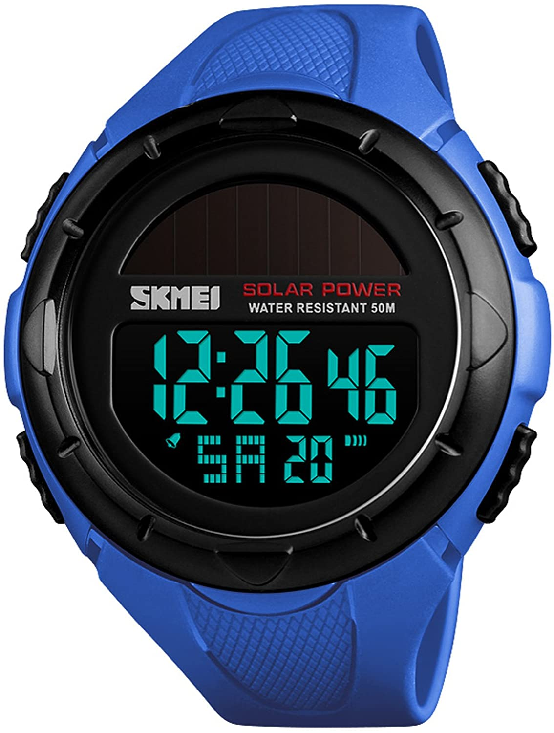 Mens Military Digital Sports Watch Solar Powered Waterproof Stopwatch Army Electronic Outdoor Sport Watches