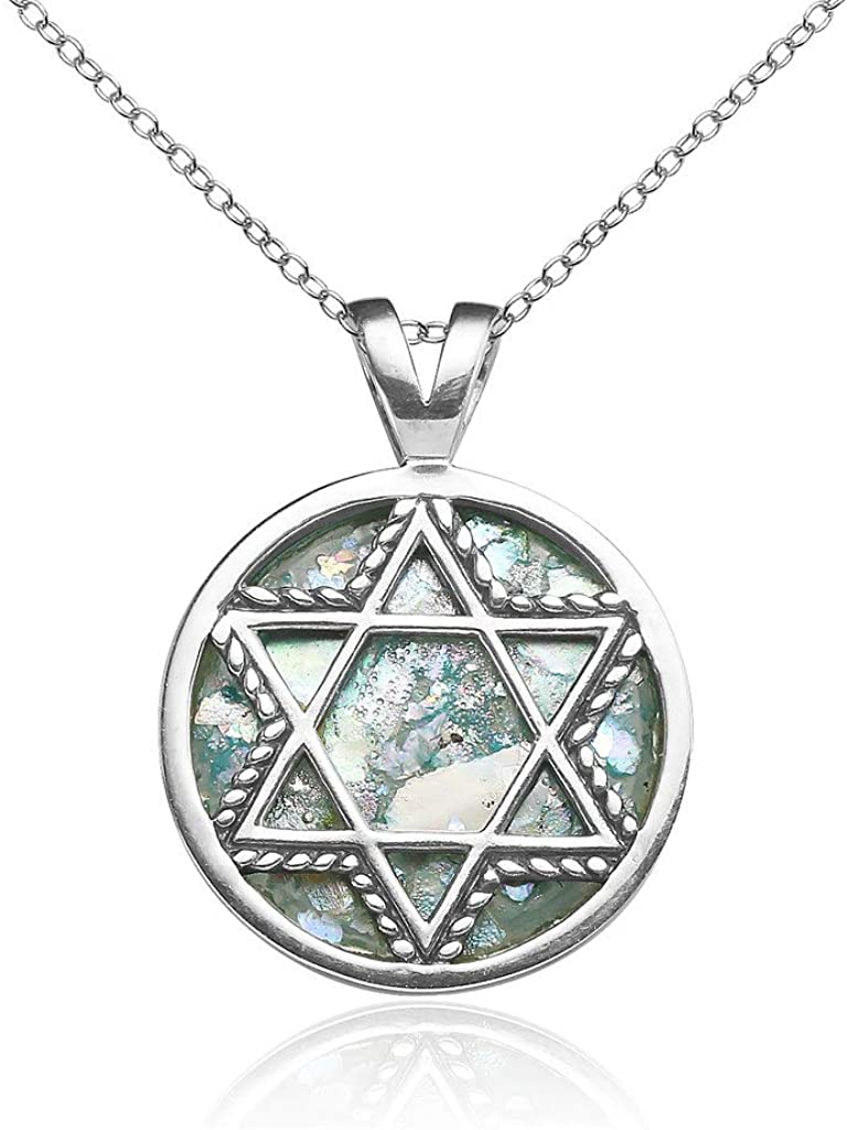 SolidSilver - Sterling Silver Round Star of David Pendant Necklace with Genuine Ancient Roman Glass Stone