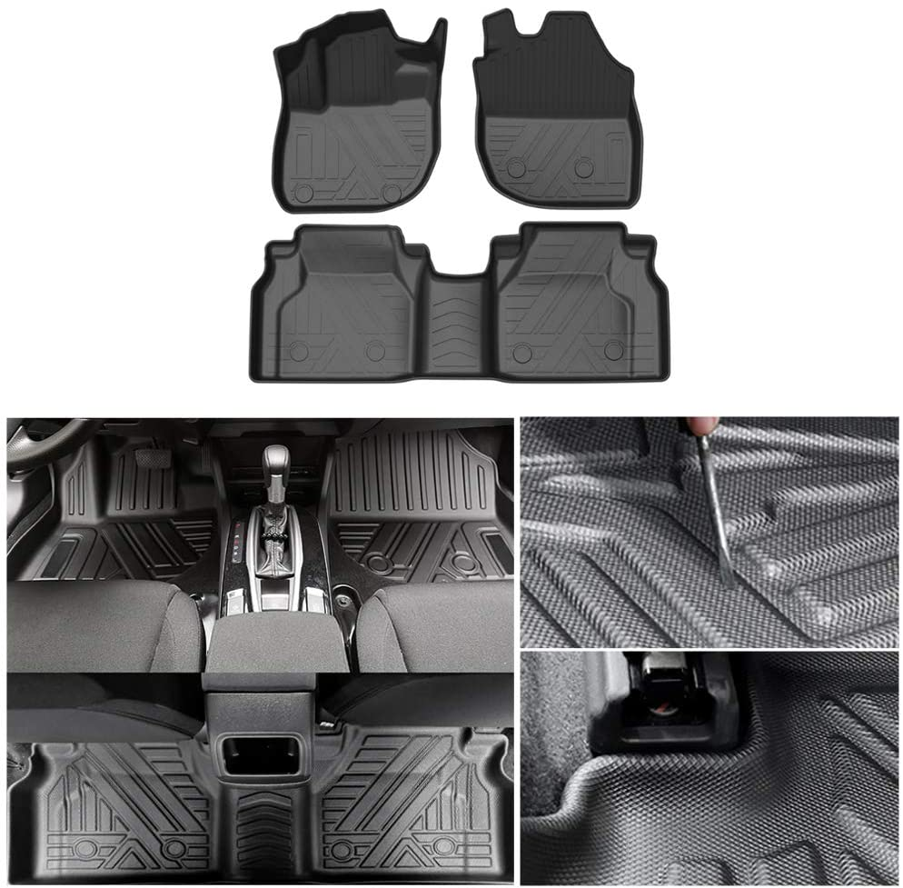 Maite Car Floor Mats Fit for Volvo XC90 2016-2020 (7-seat) Black Front and Rear Full Set TPE Floor Liners All-Weather Protection