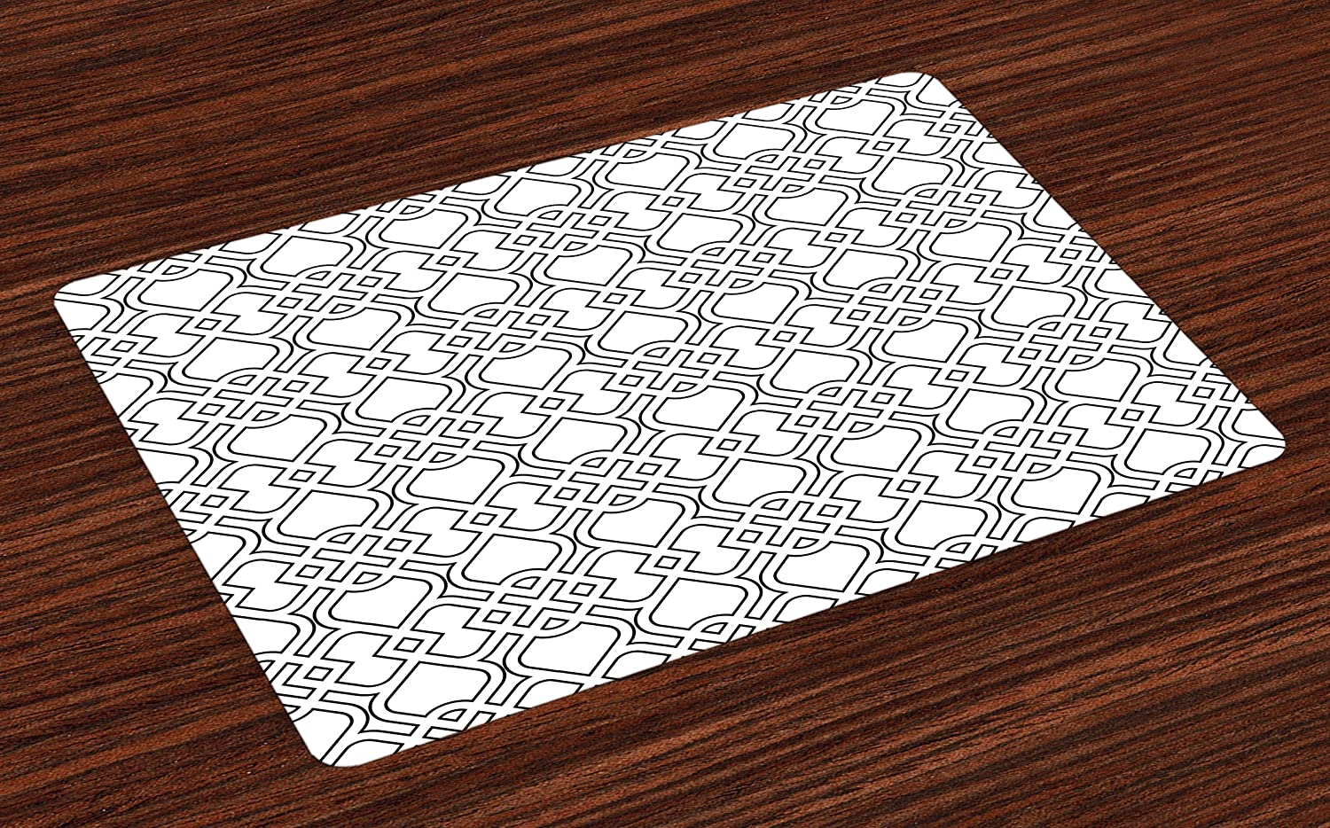 Lunarable Grey Place Mats Set of 4, Trippy Linked Delicate Pattern with Tile Influences Oriental Design, Washable Fabric Placemats for Dining Room Kitchen Table Decor, White