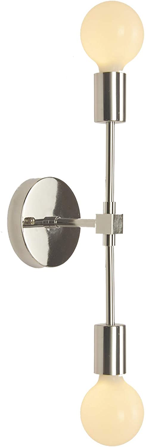 BAODEN Bathroom Vanity Wall Sconce 2 Lights Modern Industrial Wall Lamp Pole Wall Mount Lighting Fixture(Chrome Color)