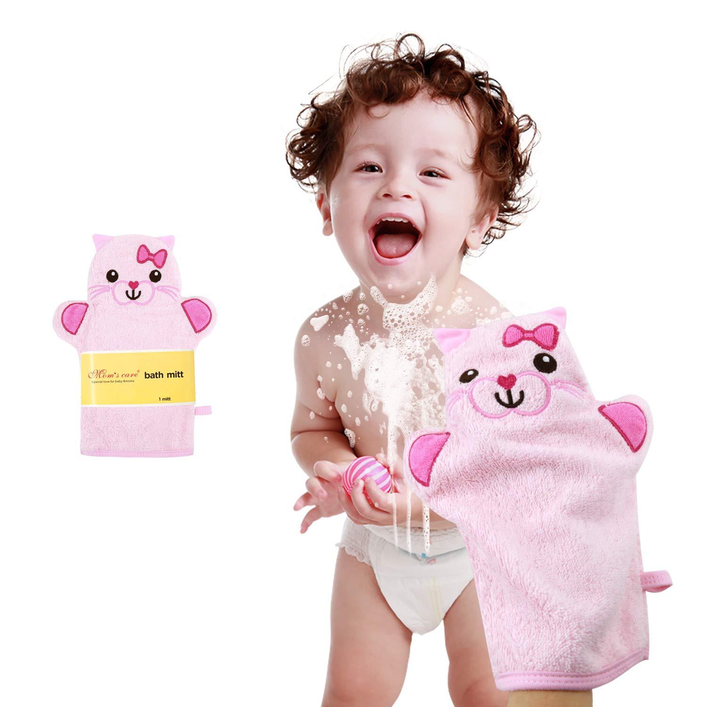 Baby Bath Mitt Ducky Puppet Washcloths Kids Wash Gloves Bath Sponge Body Scrub for Toddler Pink Cat