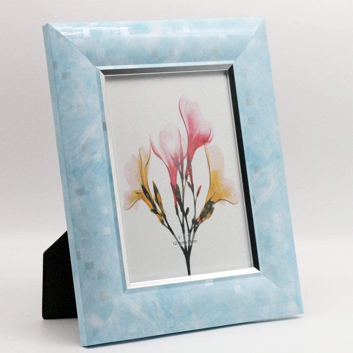 YUNDINGJI Sky Blue & Silver Edge Photo Frames, 5x7, 2-Pack