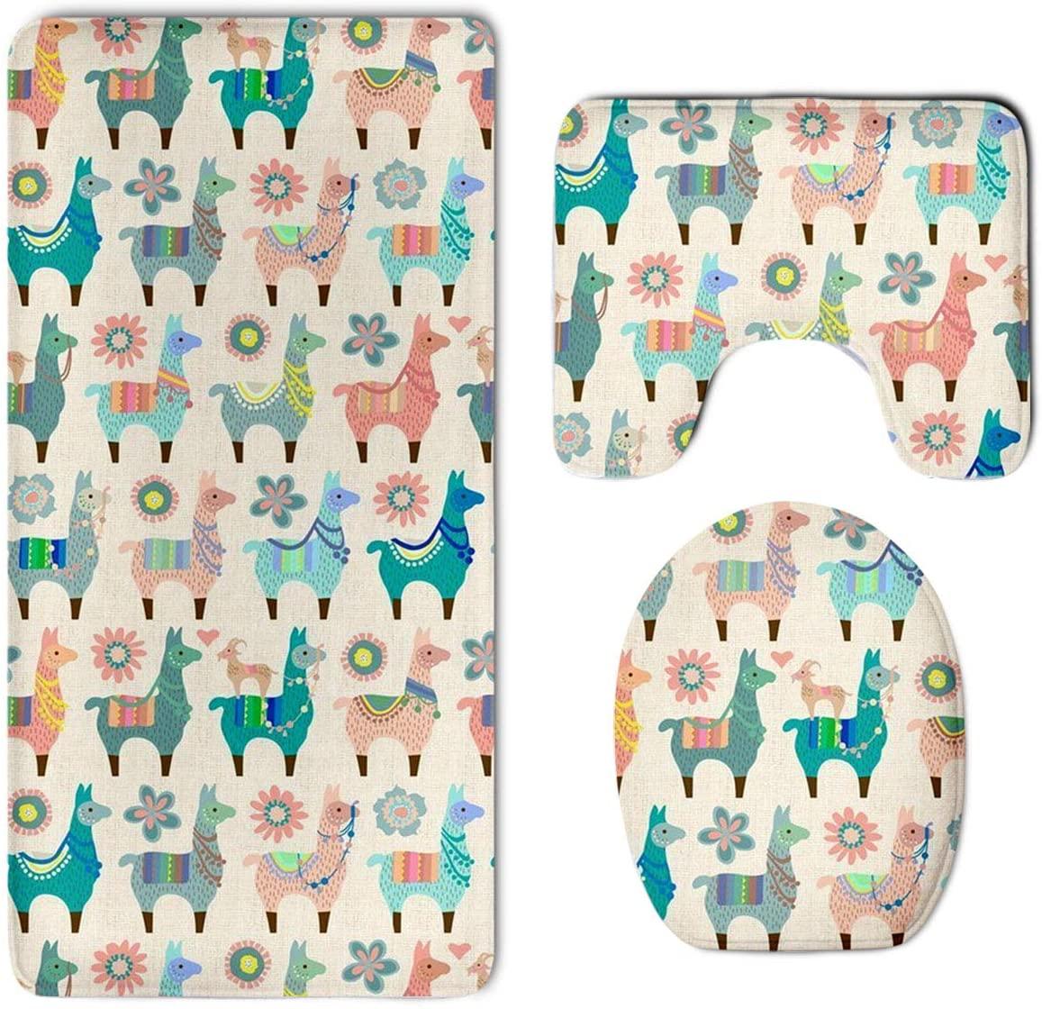 Colorful Llama Fun Skidproof Toilet Seat U Shape Cover Bath Mat Lid Cover 3 Piece Non Slip Bath Rug Mats Sets for Shower SPA