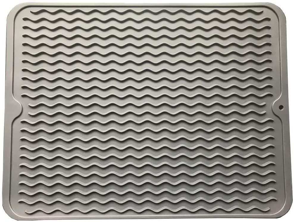 TUKINOTORI Dish Drying Mat,Easy Clean Dishwasher Safe Heat Resistant Eco-Friendly Trivet - Gray