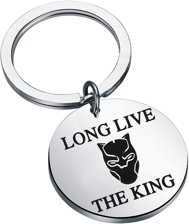 FAADBUK Black Panther Keychain Long Live King Jewelry Black Panther Inspirational Gifts Black Panther FansJewelry Marvel Comics Black Panther Jewelry