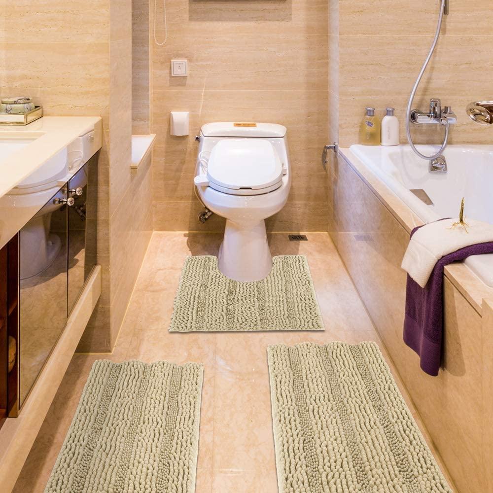 IM Home Striped Beige Bathroom Rug Set 3 Pieces Extra Soft, Non Slip Chenille Bath Rugs Machine Washable, Absorbent Plush Shaggy Bath Mats for Bathroom, Bedroom, Tub, Toilet, Shower