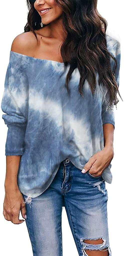 Womens Long Sleeve Tops, Women's Tie-Dye Sweatshirts Long Sleeve Crewneck Casual Pullover Shirts Tops