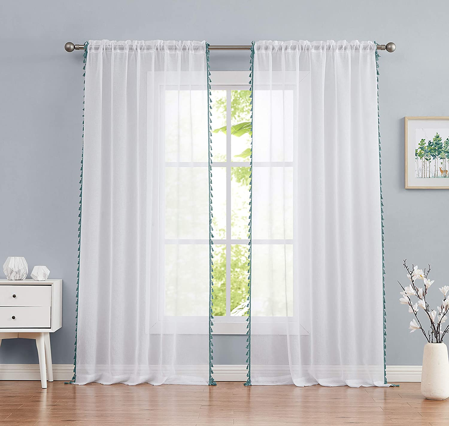 CloverForty Tassels Embellished Sheer Rod Pocket Curtain Panel Pair, 54x96, White/Teal, 2 Piece