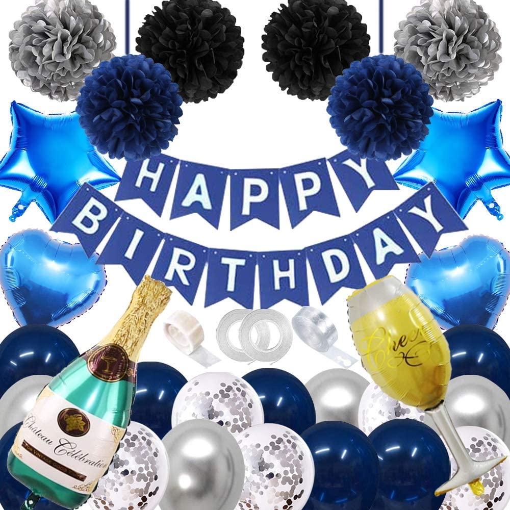 Birthday Decorations for Men Women Blue Birthday Party Decor for Boys Girls, Happy Birthday Banner Blue Balloons Birthday Supply for 13th 18th 19th 20th 21st 26th 30th 40th 50th 60th 70th Birthday