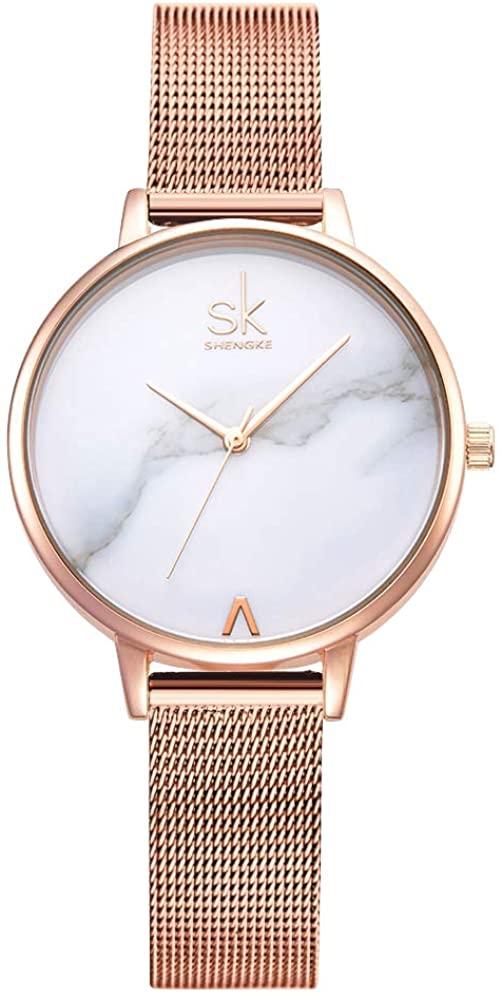 SK Watches Women Stainless Steel Band Ladies Quartz Wristwatches Women Clock Bracelet Watch