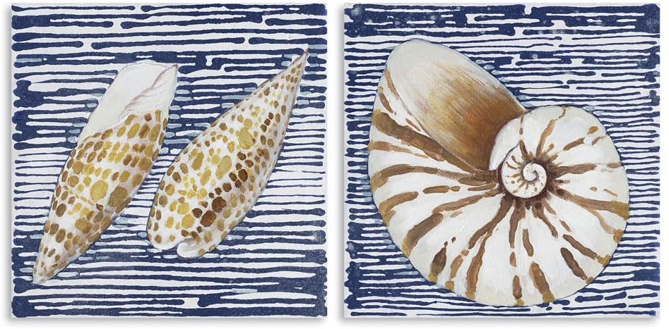B BLINGBLING Seashells Wall-Art Navy-Blue Picture: Sea Theme Canvas Wall Art Nautical Decorations for Home Bathroom Decor with Frame 2 Pieces (20
