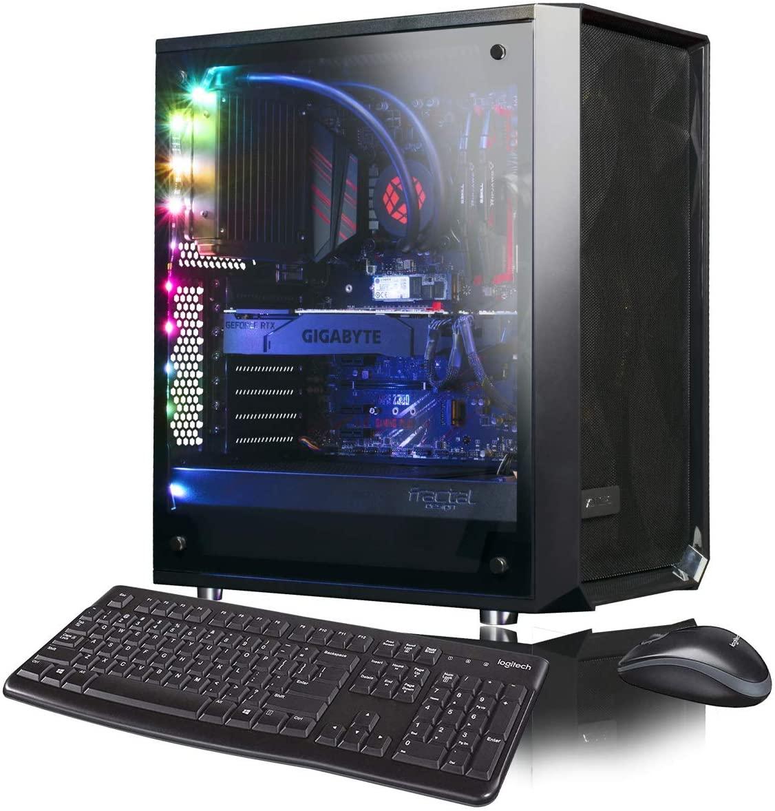 XOTIC Meshify C (Intel 9th Gen i5-9600K 6-core 4.6GHz Turbo, 32GB DDR4 RAM, 500GB NVMe SSD + 2TB HDD, GTX 1660 6GB, Windows 10) Liquid Cooled Gaming Desktop PC