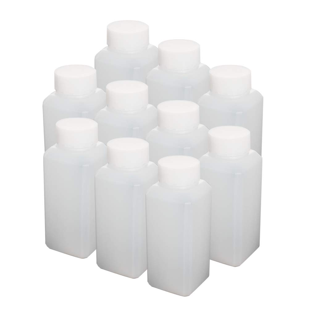Othmro Plastic Lab Chemical Reagent Bottle, 120ml Wide Mouth Sample Sealing Liquid/Solid Storage Bottles, White 10pcs