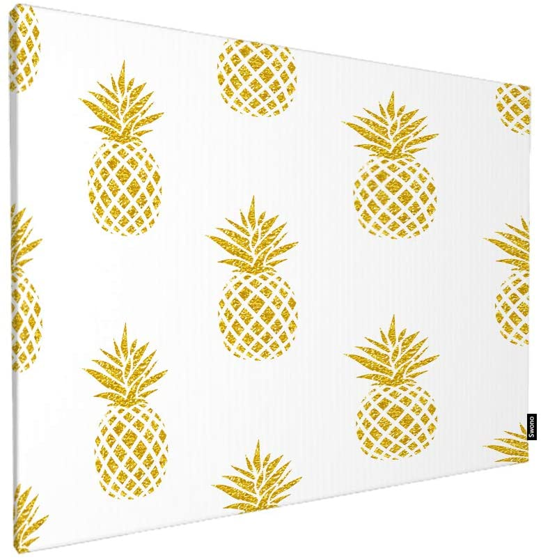 Swono Pineapple Wall Art Canvas Painting,Seamless Summer Gold Pineapple On White Art Painting for Living Room Bedroom Decorations Wall Decor Gift 20