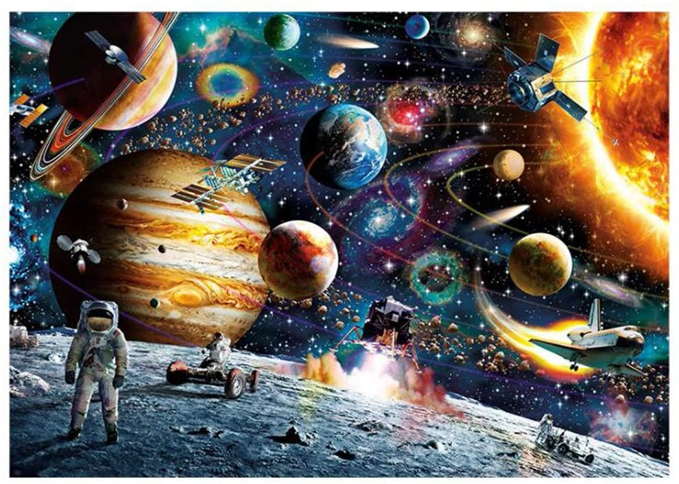 1000 Piece Space Jigsaw Puzzles for Adult Outer Space Planets and Astronaut Puzzles, Cosmic Galaxy Kids Intellectual Game Learning Education Toys