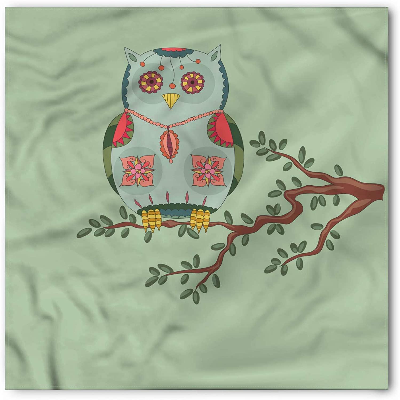 Lunarable Nursery Bandana, Owl on a Tree Branch, Unisex Head and Neck Tie