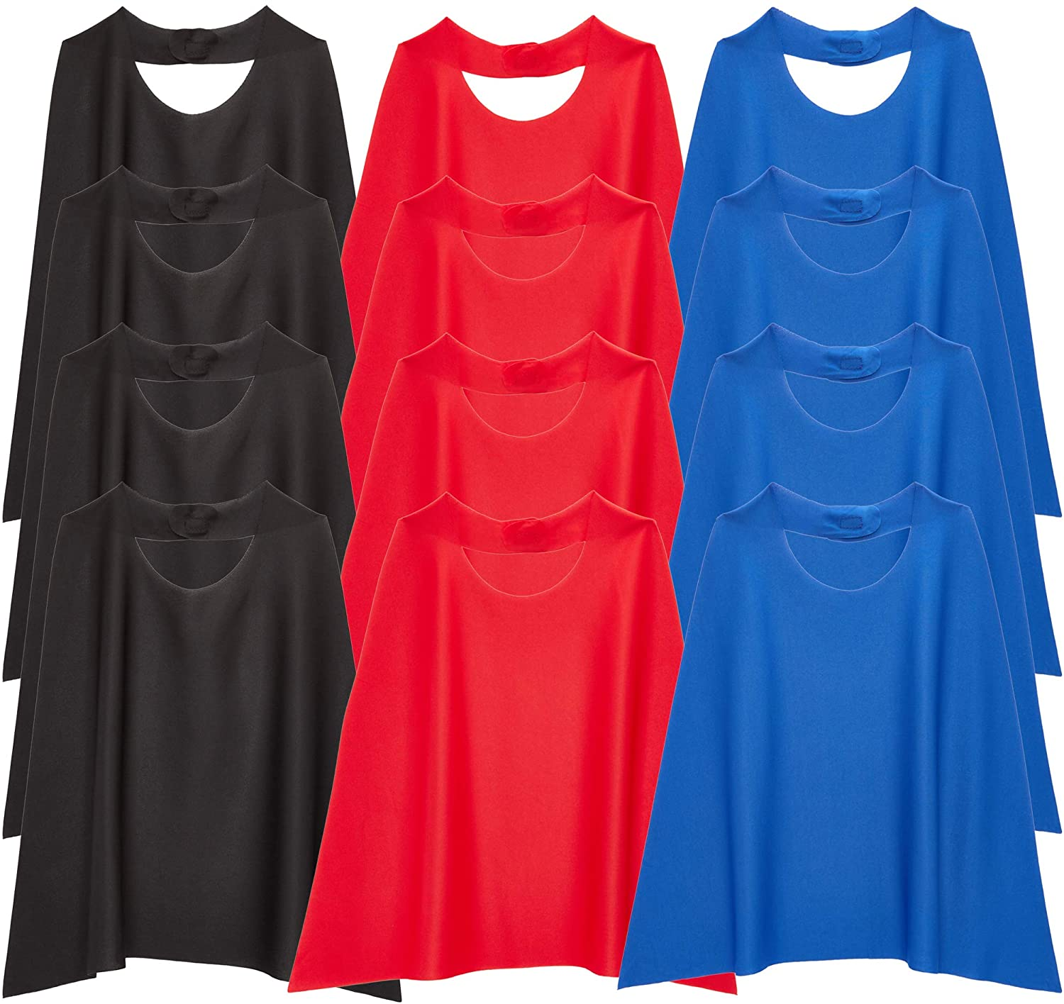 Superhero Dress Up Capes for Kids Costumes (Black, Red, Blue, 12 Pack)