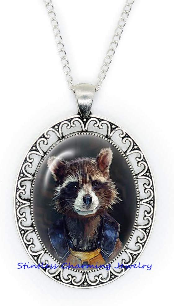 Raccoon Necklace, Galaxy Raccoon Pendant, Necklace for him, Art Gifts for Her,Photo Jewelry Art Necklace Birthday Gift Best Friend gift-JV286