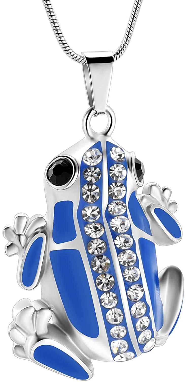 Cremation Jewelry Frog Shape Urn Necklace Ashes Keepsake Holder Memorial Urn Necklace Sweater Necklace