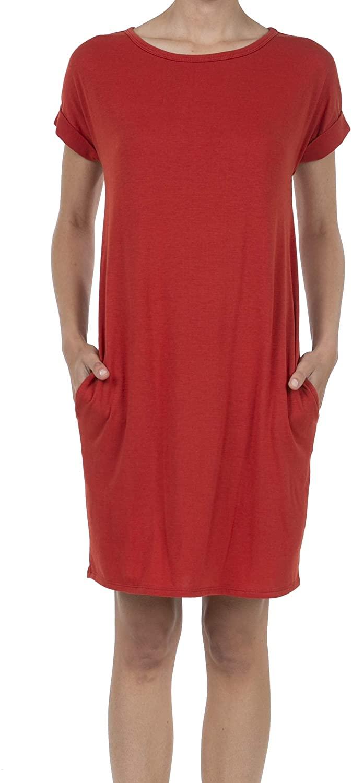 SHOP DORDOR Women's Short Sleeve Loose T-Shirt Casual Midi Dress