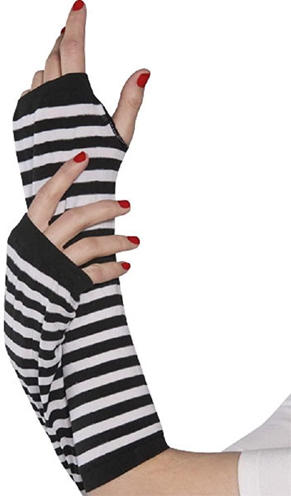 NHC Black/White Striped Arm Warmers Costume Accessory