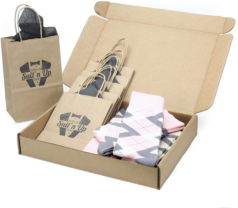 Blush Petal Pink Gray Argyle Men's Socks - Groomsmen Wedding Sock Kit with Gift Bags