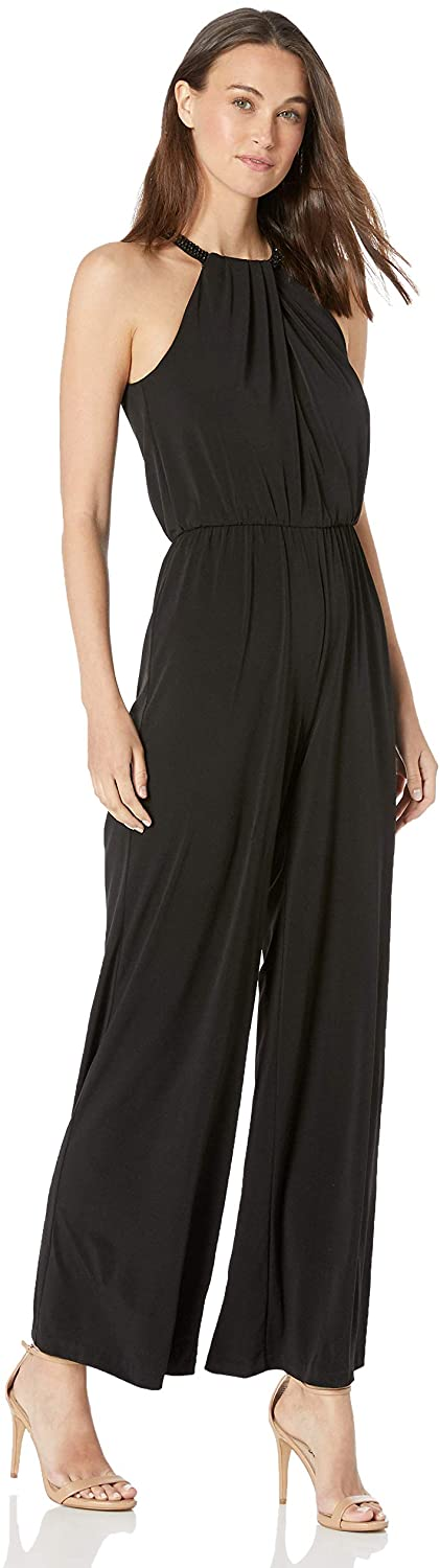 Calvin Klein Womens Sleeveless Halter Jumpsuit with Beaded Neck Band