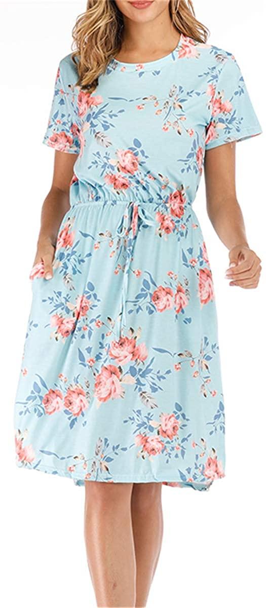 Womens Summer Dresses Floral Short Sleeve Casual Pockets with Waist Belt