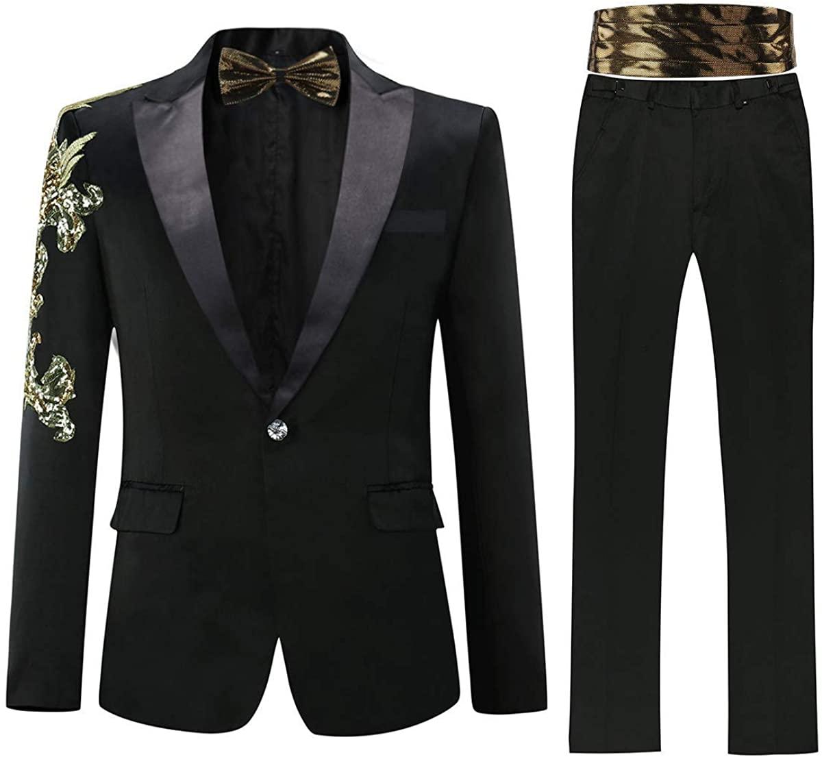 Mens 2 Piece Floral Dress Suit Set One Button Feast Dinner Tuxedo Jacket & Pants