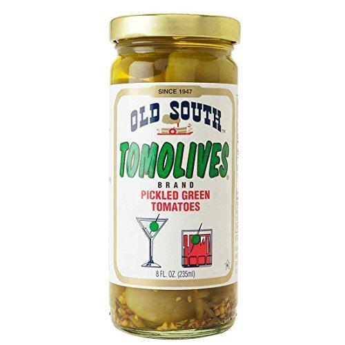 Old South Tomolives Pickled Green Tomato, 8 oz jar | Gluten Free Pickled Vegetable | Great Cocktail Snack