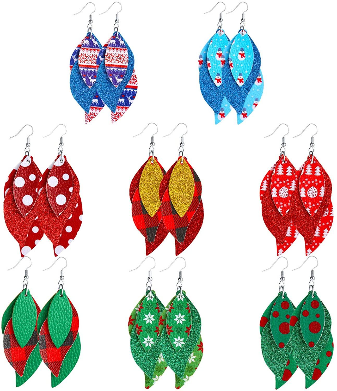 Christmas Earrings for Women Girls Christmas Dangle Earrings for Women Christmas Layered Leather Earrings for Women Christmas Decorations Celebrate Christmas Gifts 8 Pairs