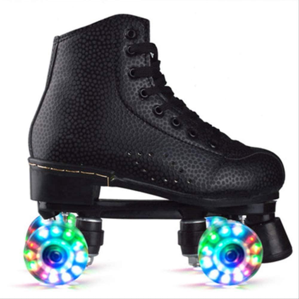 Skates Adult Pu Leather Quad Roller Skates Double Line Skates Two Line Skating Shoes Patines Pu Flash Or No Flash Wheels 36 Flashing Black Skate