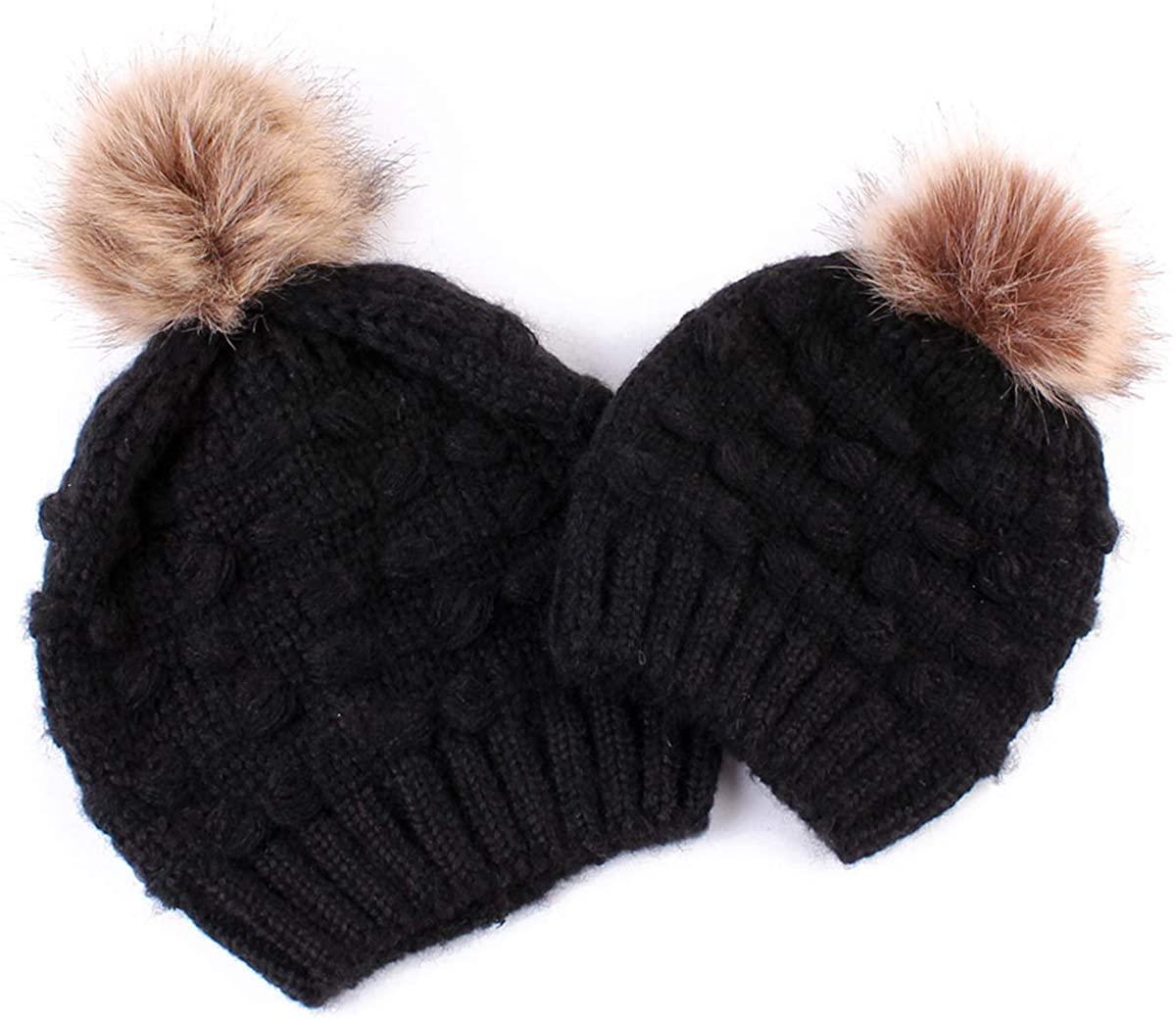 Rungion 2PCS Parent-Child Winter Hat Warmer Baby Women Hats Mother Baby Knit Hat Beanie Winter Warm Crochet Cap
