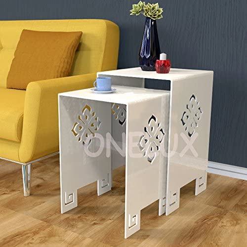 ONELUX (2 Pieces/lot) Waterfall Engraved Acrylic Nesting Side Table,Lucite Occasional Sofa Riser Tables - (White)