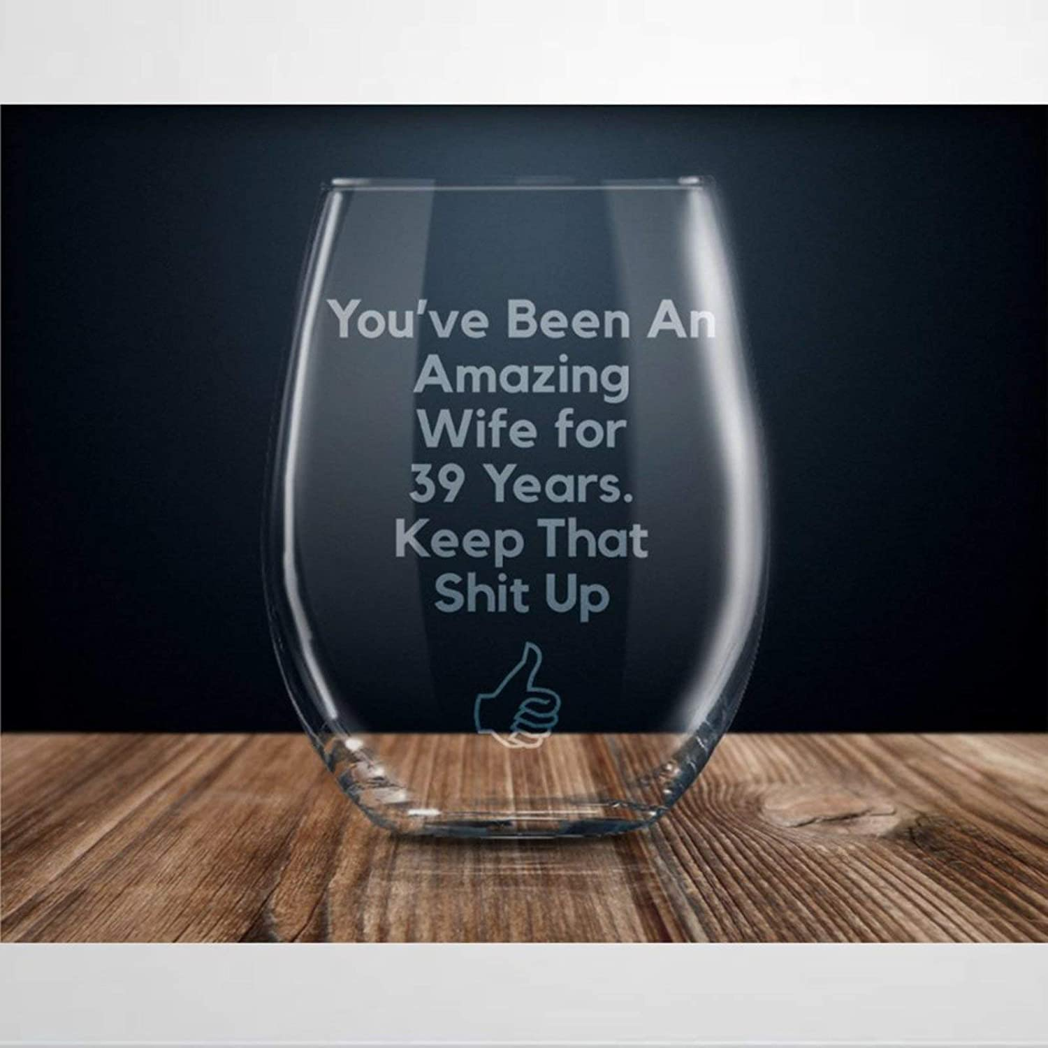 39 Year Anniversary Crystal Stemless Wine Glass,Engraved Whiskey Glass Shot Glass,Perfect For Father Mom Boy Or Girl Friend Friend