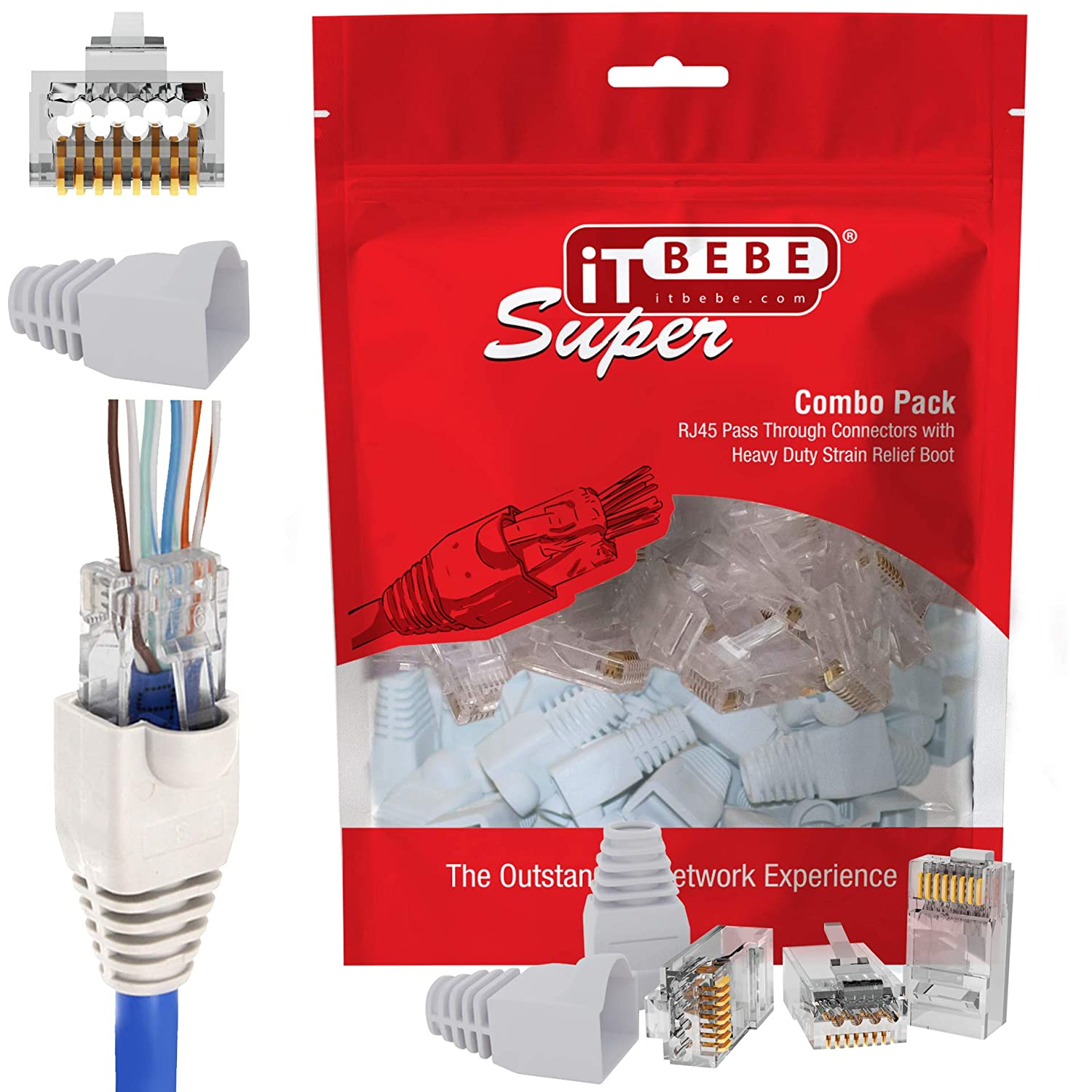 ITBEBE 30/30 RJ45 Cat6 Pass Through Connectors for 23 AWG Cables - 30 Cat6 Passthrough Connector Ends and 30 RJ45 Connectors White Strain Relief Boots for Clean, snag-Free Ethernet Patch Cord