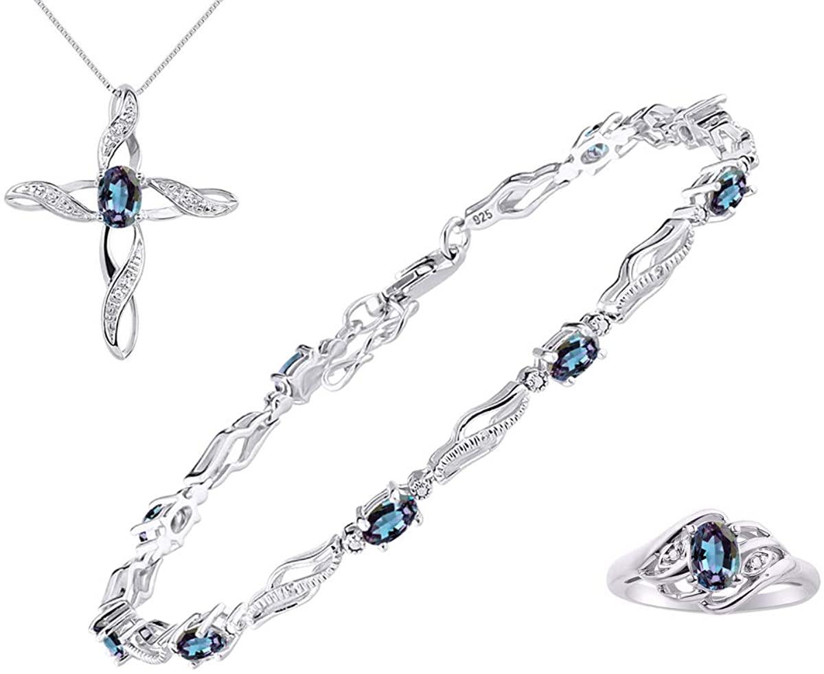 RYLOS Designer Infinity Wave 3 Piece Matching Jewelry Set With Colorstones/Gem Stones & Diamonds; Bracelet, Ring & Matching Necklace