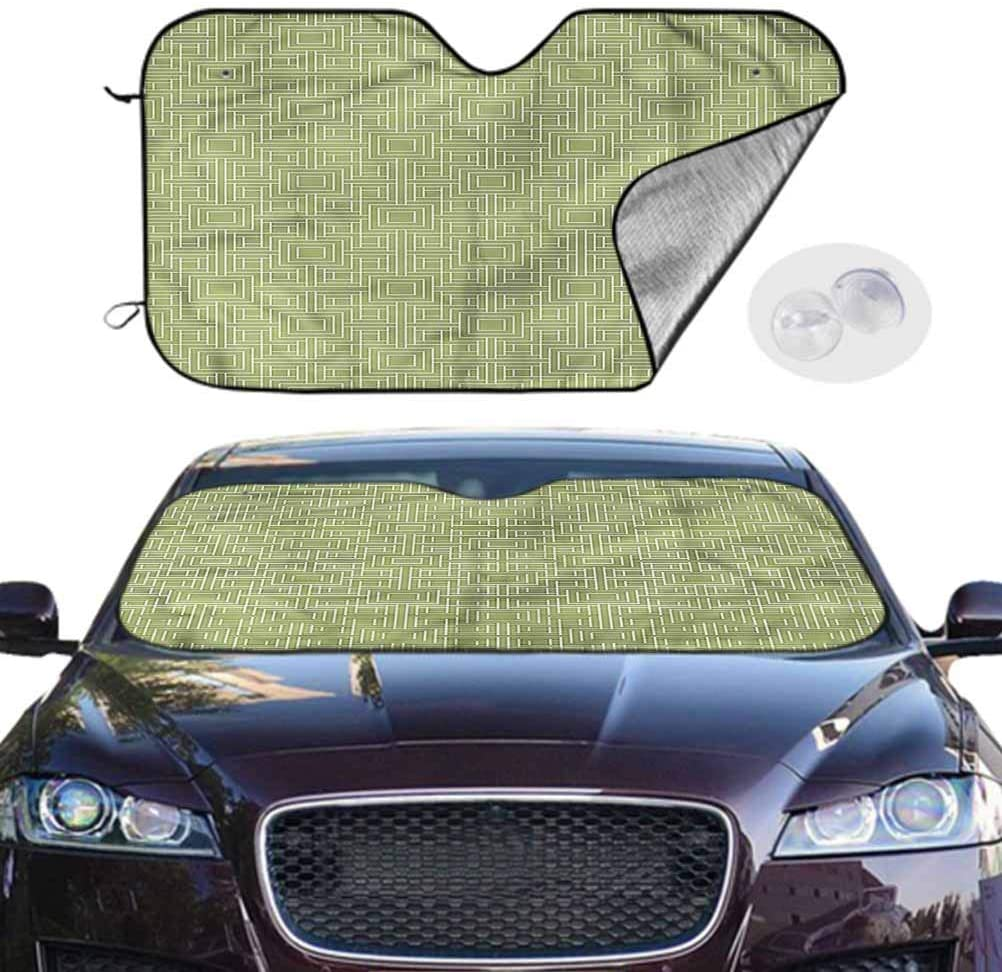 TableCoversHome Windshield Sun Shade Geometric Foldable Sun Shield Squares and Lines Pattern, 30 x 55 Inch, Car Parts