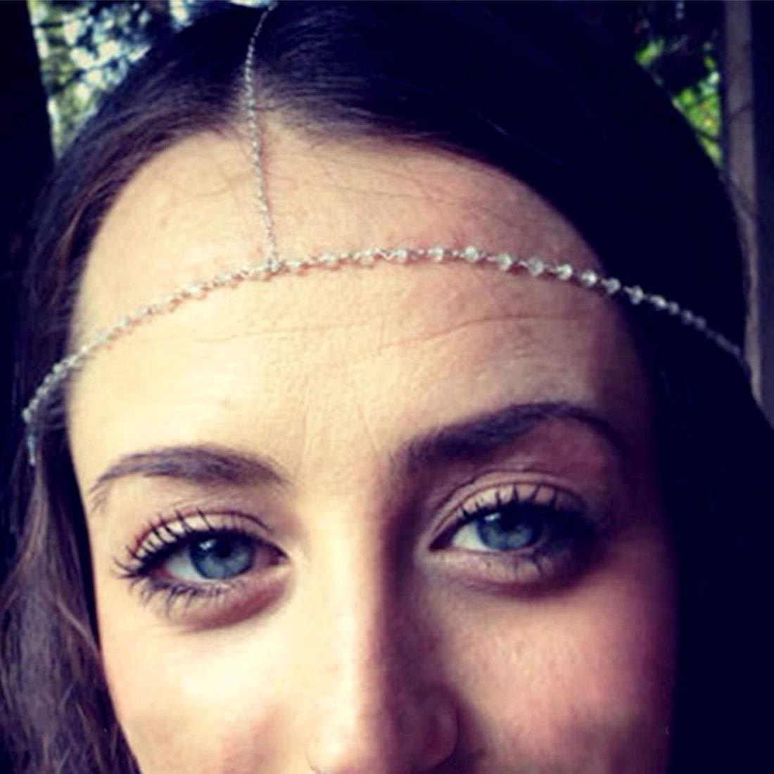Fashband Crystal Head Chain Boho Headband Vintage Inspired Forehead Jeweled Headpiece Fantasy Crown Tiara Fashion Hair Accessory Festival Jewelry for Women and Girls (Gold)