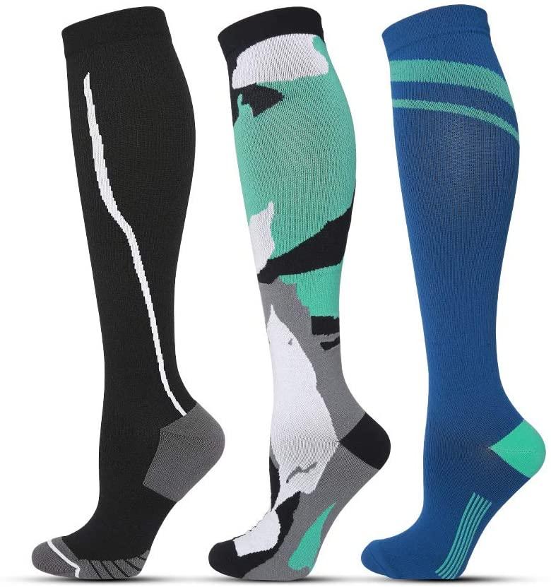 Compression Socks Women Men 15-20 mmHg Knee High Stocking Best for Athletic Running Pregnancy Flight Travel Nursing 3 Pairs